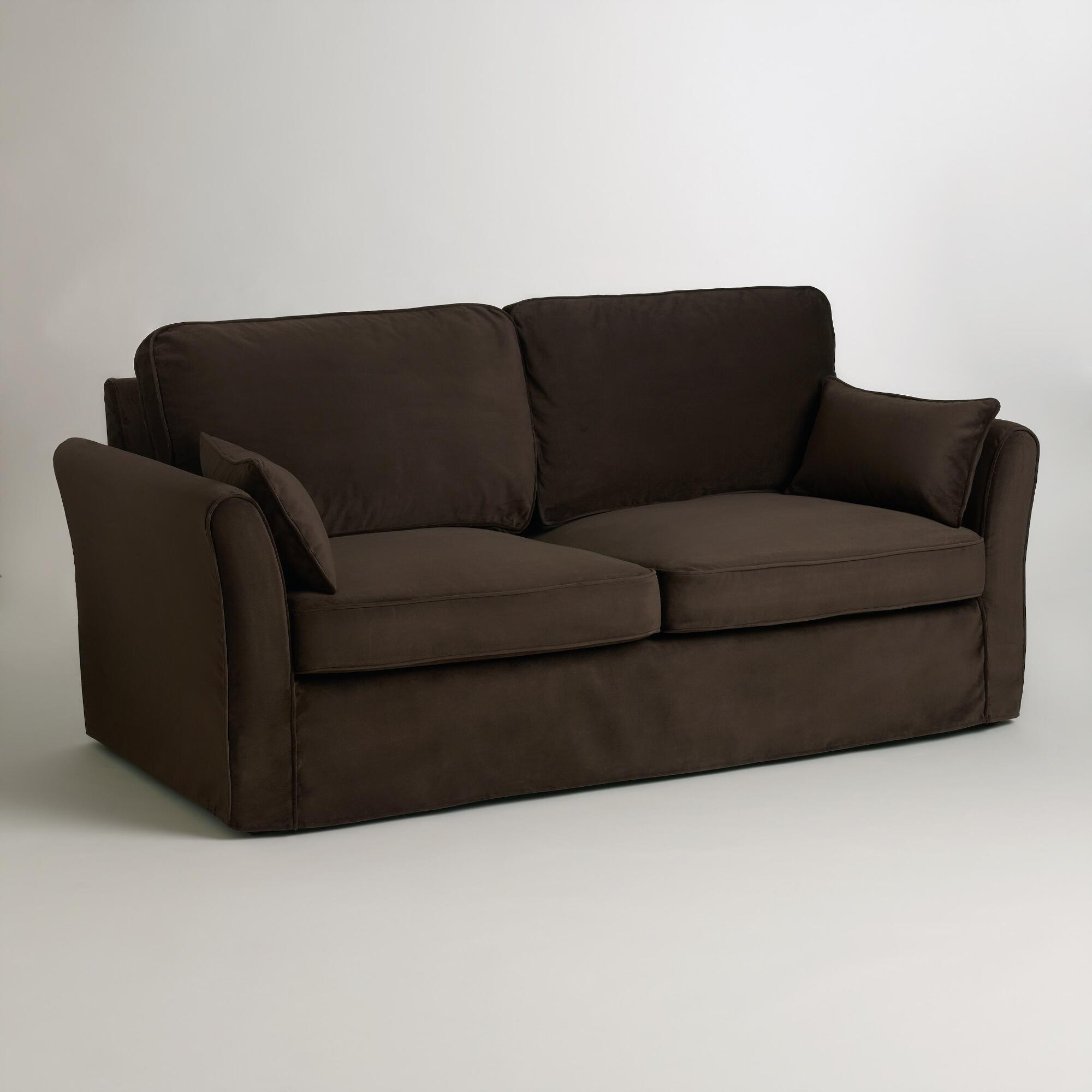Chocolate Brown Velvet Loose Fit Luxe Sofa Slipcover