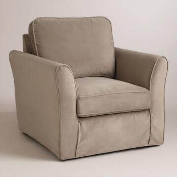Mink Brown Velvet Loose-Fit Luxe Chair Slipcover