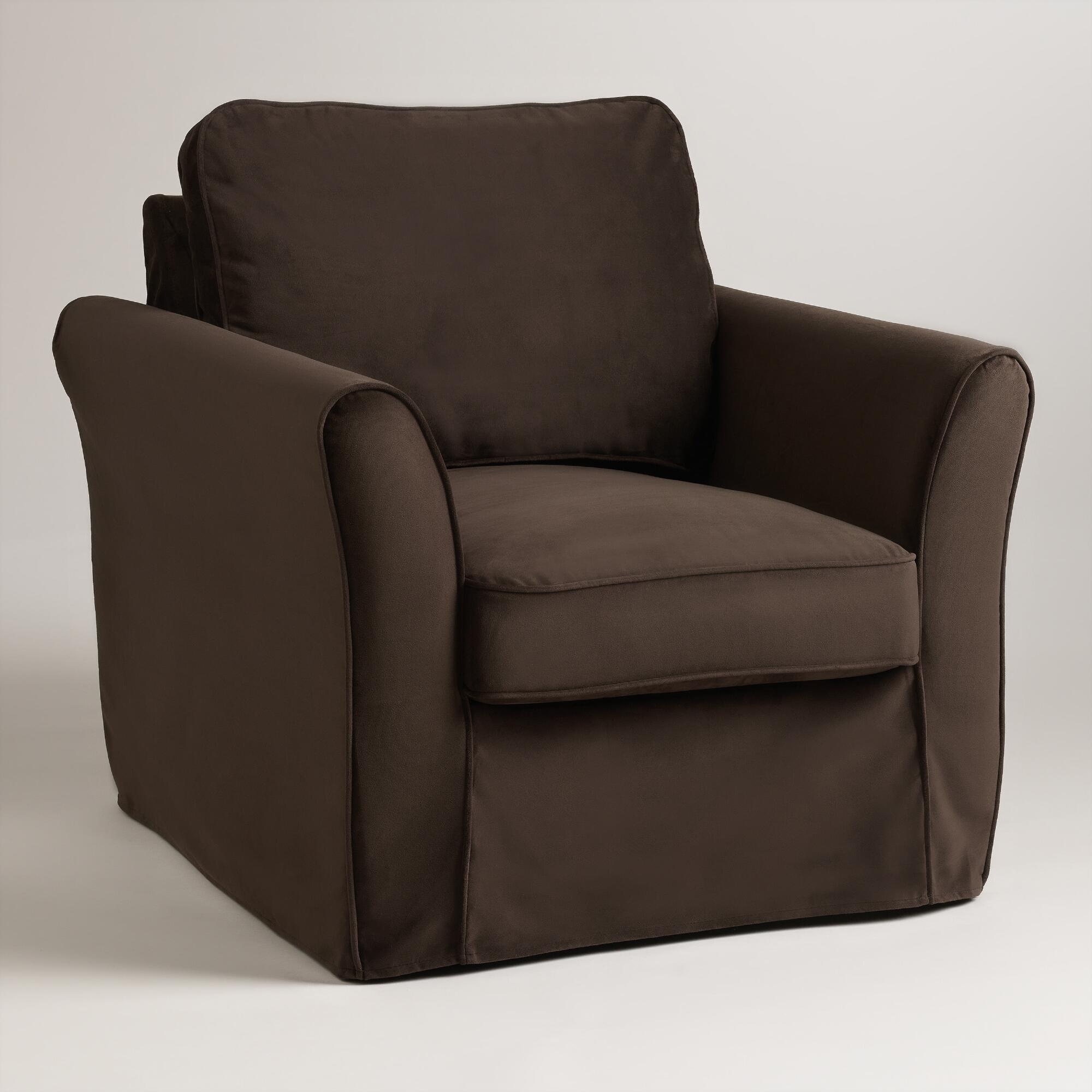 Chocolate Brown Velvet Loose Fit Luxe Chair Slipcover