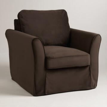 Chocolate Brown Velvet Loose-Fit Luxe Chair Slipcover