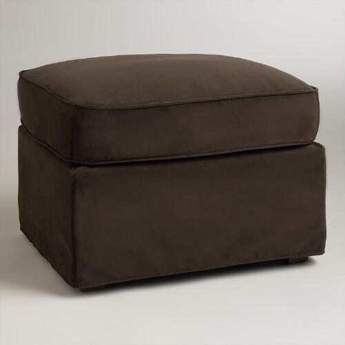 Chocolate Brown Velvet Loose-Fit Luxe Ottoman Slipcover