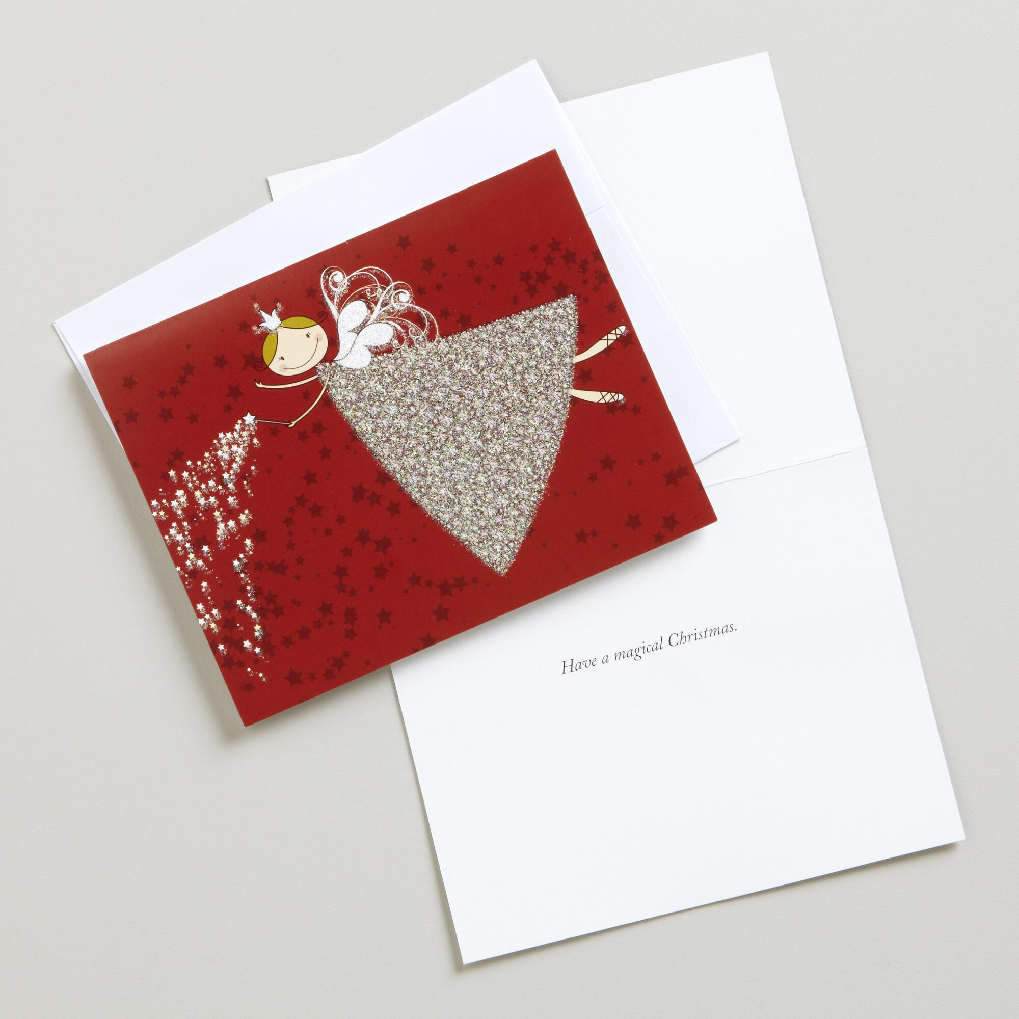 Glitter Angel Boxed Holiday Cards, Set Of 15
