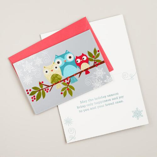 Three Owls on a Branch Boxed Holiday Cards, Set of 15