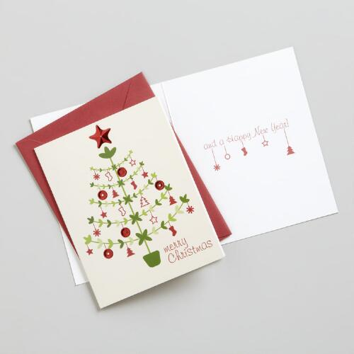 Merry Christmas Tree Boxed Holiday Cards, Set of 15