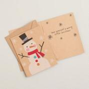 Snowman Kraft Paper Boxed Holiday Cards, Set of 15