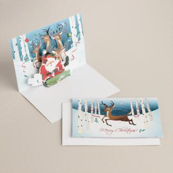Sledding Santa Boxed Holiday Cards, Set of 8