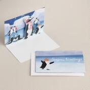 Ice Skating Penguins Boxed Holiday Cards, Set of 8