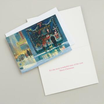 Santa in Window Boxed Holiday Cards, Set of 15