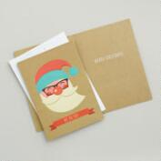 Kraft Paper Santa Boxed Holiday Cards, Set of 15