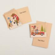 Fox & Hare Kraft Boxed Holiday Cards, Set of 16