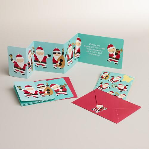Singing Santas Accordion-Fold Boxed Holiday Cards, Set of 15