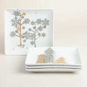 Snow Drift Square Plates, Set of 4