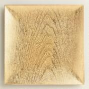 Gold Square Woodgrain Lacquer Chargers, Set of 4