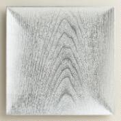 Silver Square Woodgrain Lacquer Chargers, Set of 4