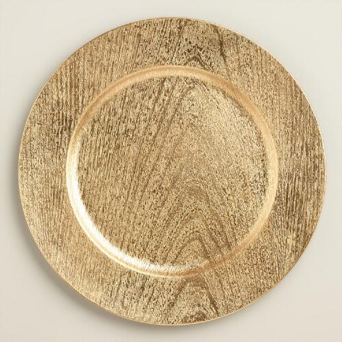 Gold Woodgrain Lacquer Chargers, Set of 4