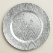 Silver Woodgrain Lacquer Chargers, Set of 4