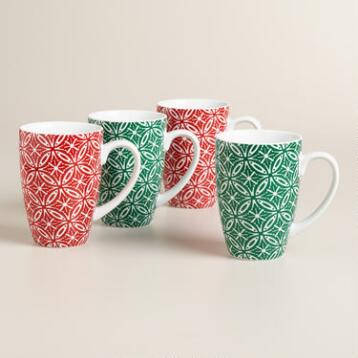 Buon Natale Geo Star Mugs, Set of 4