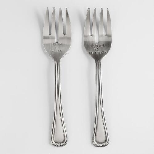 Metal Hand-Stamped Serving Forks, Set of 2