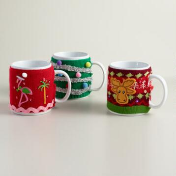 Mugly Ceramic Mugs with Sweater, Set of 3