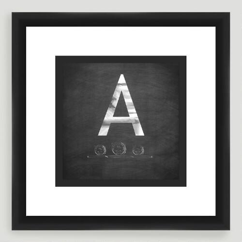 """A"" Monogram Typography Wall Art"