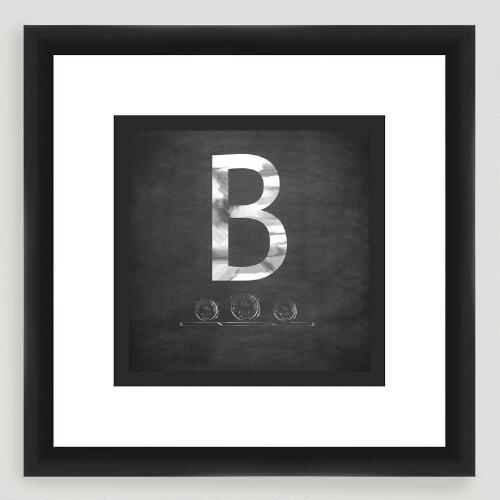 """B"" Monogram Typography Wall Art"