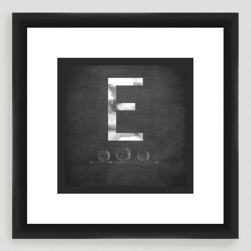 """E"" Monogram Typography Wall Art"