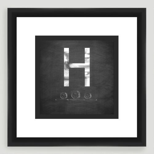 """H"" Monogram Typography Wall Art"