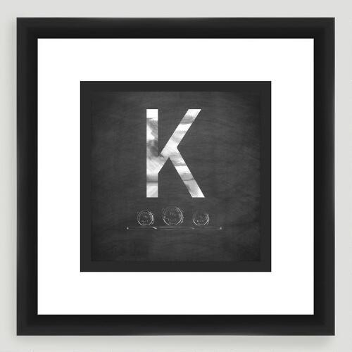 """K"" Monogram Typography Wall Art"