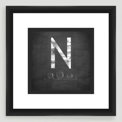 """N"" Monogram Typography Wall Art"