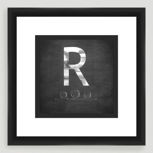 """R"" Monogram Typography Wall Art"