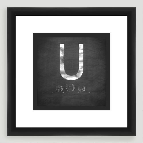 """U"" Monogram Typography Wall Art"