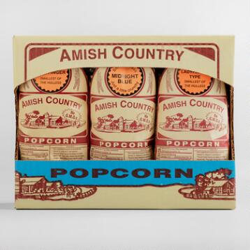 Amish Country Ladyfinger Popcorn Gift Box, 3-Pack