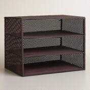 Espresso Metal Yvette 3-Shelf Desk Organizer