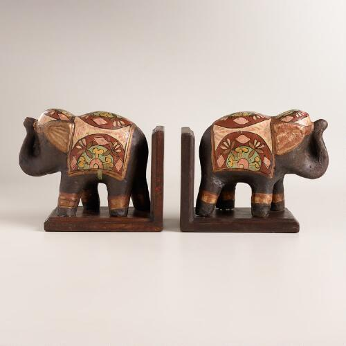 Hand-Painted Wood Elephant Bookends, Set of 2