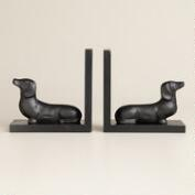 Hand-Painted Wood Dachshund Bookends Set of 2