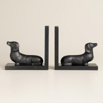Hand-Painted Wood Dachshund Bookends, Set of 2
