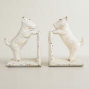 Whitewash Metal Scottie Dog Bookends Set of 2