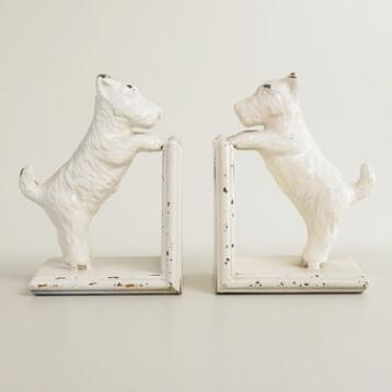 Whitewash Metal Scottie Dog Bookend