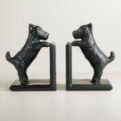 Espresso Metal Scottie Dog Bookends Set of 2