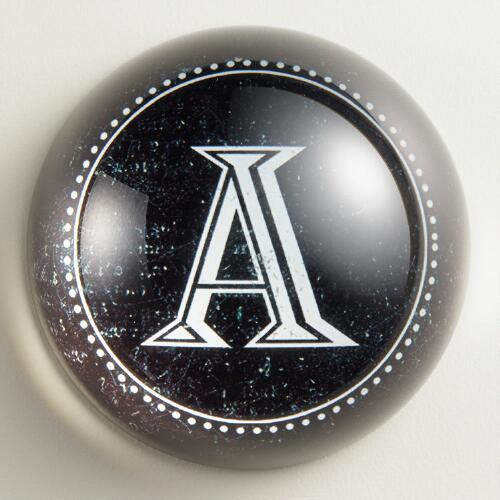 """A"" Monogram Glass Paperweight"