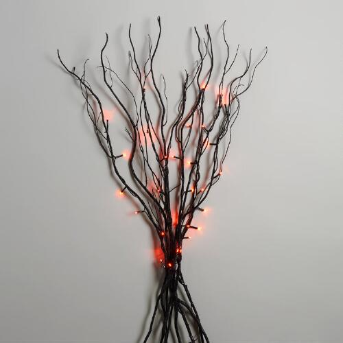 Orange LED Lights Black Willow Branch