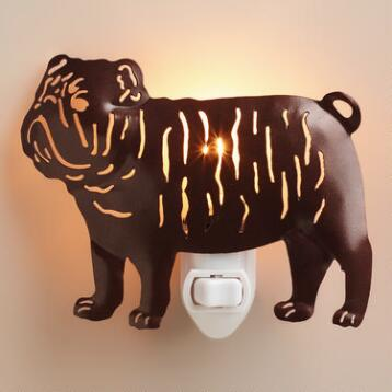 Handcrafted Metal Bulldog Night-Light
