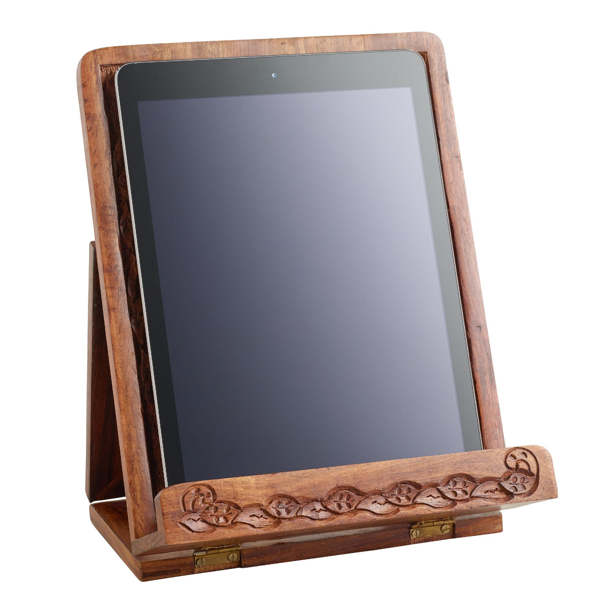 Hand carved wood tablet stand world market