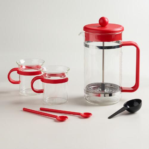 Red Bodum Bistro 5-Piece French Press Coffee Maker Set