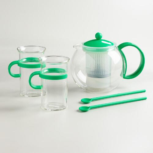 Green Bodum Assam 5-Piece Tea Press Set