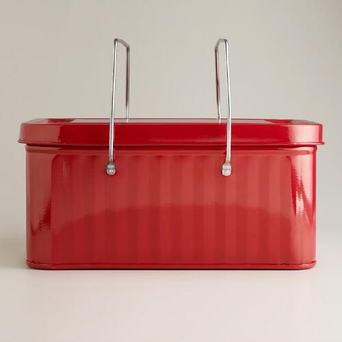 Red Retro Metal Basket