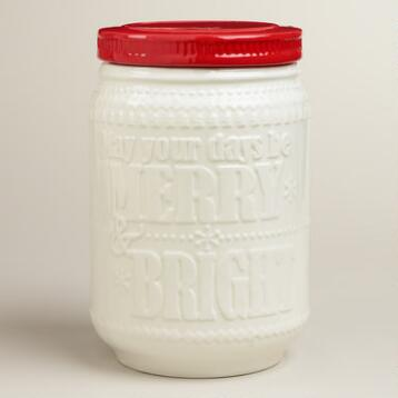 'Merry and Bright' Embossed Ceramic Cookie Jar