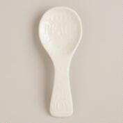 'Joy and Peace' Embossed Ceramic Spoon Rest
