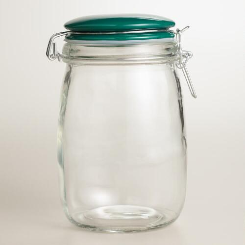 Medium Glass Canister with Green Ceramic Clamp Lid