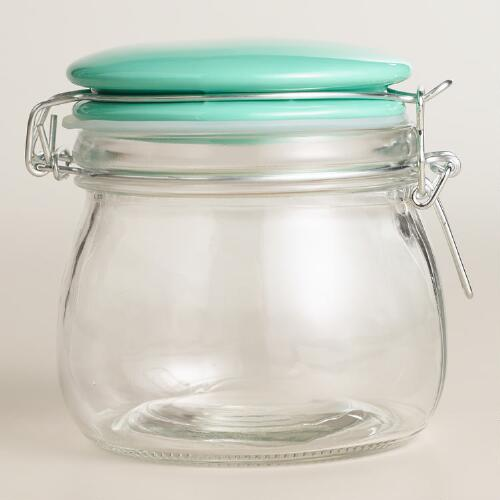 Small Glass Canister with Mint Ceramic Clamp Lid